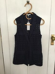 Veronika Maine Navy Broderie Anglaise Top Size 10, NWT