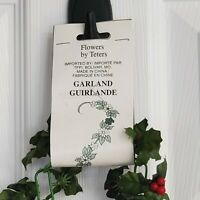 Vintage Poinsettia Chain Garland 6ft. Plastic  Floral Fabric Unopened Retro MCM