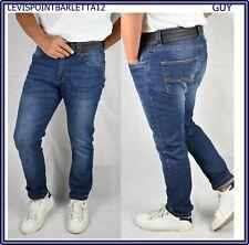 jeans slim fit da uomo elasticizzato pantaloni pantalone aderente guy blu denim