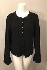 Stunning St. John Collection Black Wool Scalloped Cardigan Sweater Size L