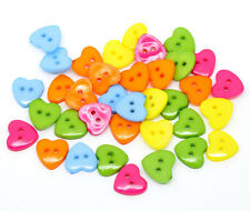50 Pcs - 14mm Mixed Colour Acrylic Heart Buttons Craft Scrapbooking C122