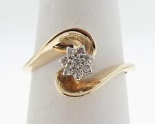 Flower Genuine Diamonds Solid 14k Yellow Gold Ring