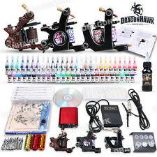 Professional Complete Tattoo Machine Kit 3 Gun 54 Color Ink Power Supply Set