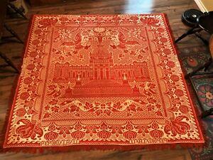 RED & WHITE COVERLET, 1876 CENTENNIAL EXPOSITION IN PHILADELPHIA
