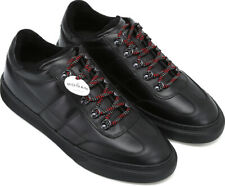 Hogan H365 Men's fashion round toe sneakers shoes black leather with red laces