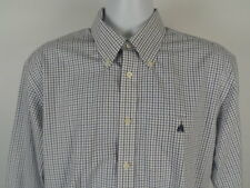 "Disneyland Hong Kong Button Up Dress Shirt Size 16.5 x 34"" Plaid Blue White"