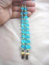 (E-79) Teal crackle glass bead Eyeglass leash holder glasses necklace accessory