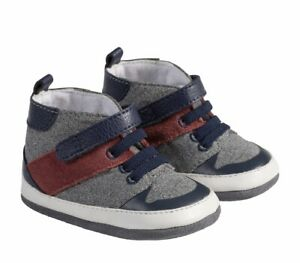 Robeez  Baby Girls Mini Shoez Ms Zachary Hightop Navy Shoes Sz 6/9 Mo 12/18 Mo
