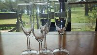 Clear Glass Champagne Flutes Glasses flat sided stem 4 7 ounce stems
