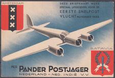 1933 SOUVENIR POSTCARD CARRIED ON 'POSTJAGER' & 'PELIKAAN' FLIGHTS