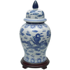 "18"" Dragon Blue & White Porcelain Temple Jar"