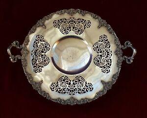 Antique Art Nouveau Silver Plate Pierced Dish with Handles. 1847 Rogers Bros P84