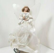"Beautiful ~ 10"" Angel Tree Topper in White Linen Dress ~ Used"