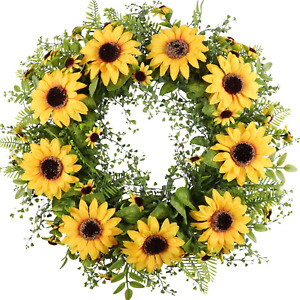 """Artificial Sunflower Wreath for Front Door 17""""Faux Floral Round Spring Summer"""