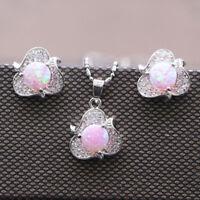 925 Silver Filled Flowers Fire Opal Earrings Ear Stud Necklace Jewelry Set