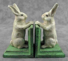 PAIR OF WHITE RABBIT Cast Iron BOOKENDS Heavy Book Ends