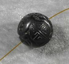 """Natural Jet Lignite Hand Carved Round Loose Bead 16mm 5/8"""" Mongolia Calming"""