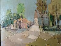 STRIKING 68 mid century Abstract Impressionist Rural Oil Painting THICK Impasto!
