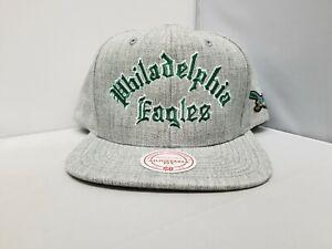 Mitchell & Ness NFL Philadelphia Eagles Gray Flat Brim Snapback NWT OSFM