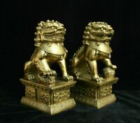 Decorated China Fengshui Brass golden Lucky Foo Fu Dog Guardion Lion Pair Statue