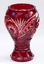 DARK RUBY RED Cut to clear Overlay / Cased Crystal Vase, H24 cm, Russia