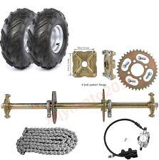"""ATV Go Kart Rear Axle Kit, Brake Assembly, 8"""" Tyre Wheels 4 Bolt Rim Quad Buggy"""