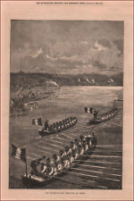 INTERNATIONAL ROWING REGATTA at PARIS, antique engraving original 1878