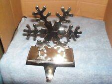 Christmas Mantel Stocking Holder Hanger Silver-Plated Heavy SNOWflake