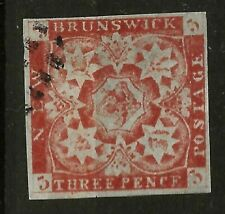 More details for new brunswick  (y-036) 1851 sg 2 dull red very fine used example see scans