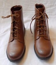 Courtney Saddle Tan Fx Leather Fashion Ankle Lace Up Women Heel Boot Shoes 6 $75