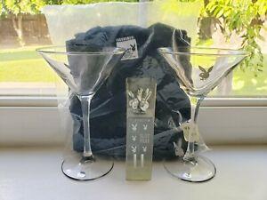 Vintage Playboy Lot. Martini Glasses, Olive Picks & Sealed Shirt size Small