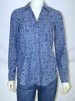 Van Heusen Blue V-Neck Long Sleeve Button Front Collared Top Womens Size XS 0 2