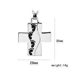Jewelry Silver Cross Pendant Necklace Baby Footprints Prayer Memory Chain