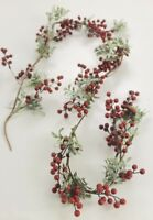 GISELA GRAHAM CHRISTMAS SNOWY BOX LEAF SHINY RED BERRY GARLAND 180cm