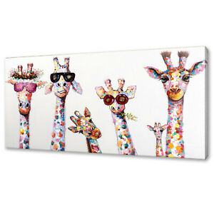 COOL GIRAFFES FAMILY CANVAS PRINT PICTURE WALL ART FAST FREE UK DELIVERY