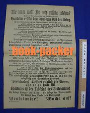 Orig. Plakat Spartakus-Aufstand 1919: WIE LANGE WOLLT IHR NOCH UNTÄTIG ZUSEHEN?