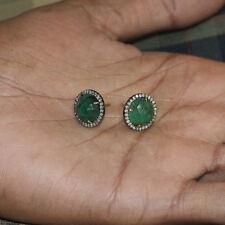 Genuine Emerald Gemstone 14K Gold Diamond Pave Stud Earrings .925 Silver Jewelry