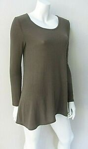 WHITE CLOSET sz M/10-12 long stretchy khaki green long sleeve top EUC