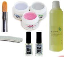 Starter Set für Nageldesign: 3x Nagelgele Cleaner Primer Nagelfeile, Gel Pinsel