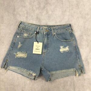 Womens River Island High Waisted Light Denim Shorts Size 10 Brand New W Tags
