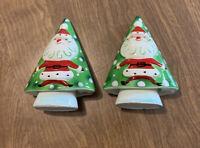 Vintage 1959 Napco Santa Christmas Tree Bells Salt & Pepper  Japan HTF Rare