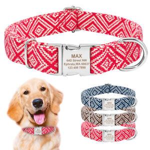 Nylon Hundehalsband Personalisiert mit Name Graviert Verstellbar Halsband Blau