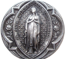 IMMACULATE MARY OF LOURDES - BEAUTIFUL ANTIQUE SILVER ART MEDAL signed PENIN