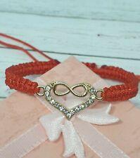 Handmade Bracelet Friendship Red Nylon Cord   with Heart Charm Beautiful Gift