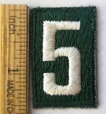 Vintage Girl Scout 1945-1973 Green NUMERAL FIVE PATCH #5 Troop Number Junior Cad