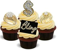 12 Novelty VANILLA STAND UPS Bling Dollar Sign Ring Mix Edible Wafer Cake Topper