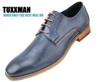 Men's Men's Contemporary Navy Blue Lace Up Plain Toe Oxford Dress Shoes TUXXMAN