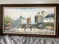CAROLINE BURNETT RARE MID CENTURY OIL PAINTING OF MOULIN ROUGE SCENERY ON CANVAS