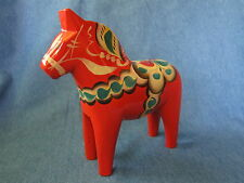 "Vintage 7.5"" NILS OLSSON Swedish Orange / Red Dala Wooden Wood Horse Folk Art"