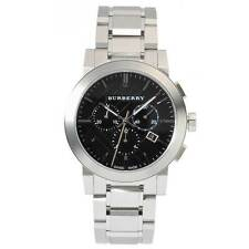 New BURBERRY The City Mens Watch Chronograph Silver Black Stainless Steel BU9351